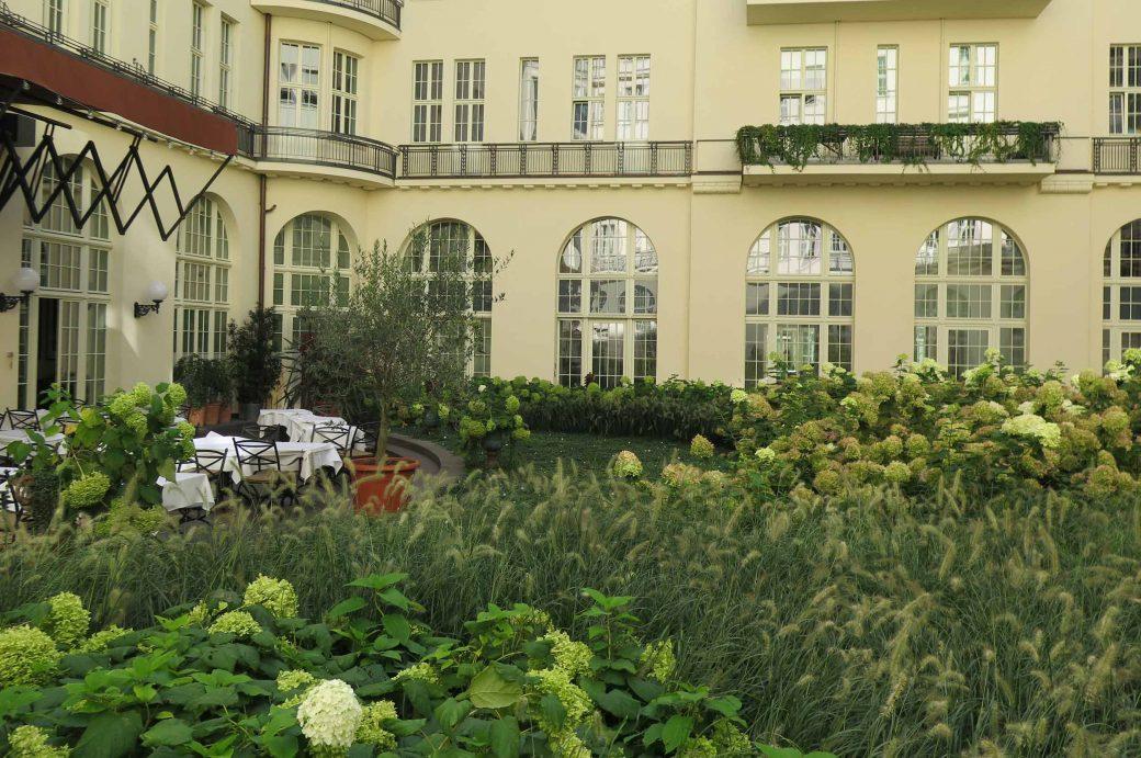 Innenhöfe des denkmalgeschützten Gebäudekomplexes am Kurfürstendamm mit Hydrangea Annabelle und Hydrangea Limelight