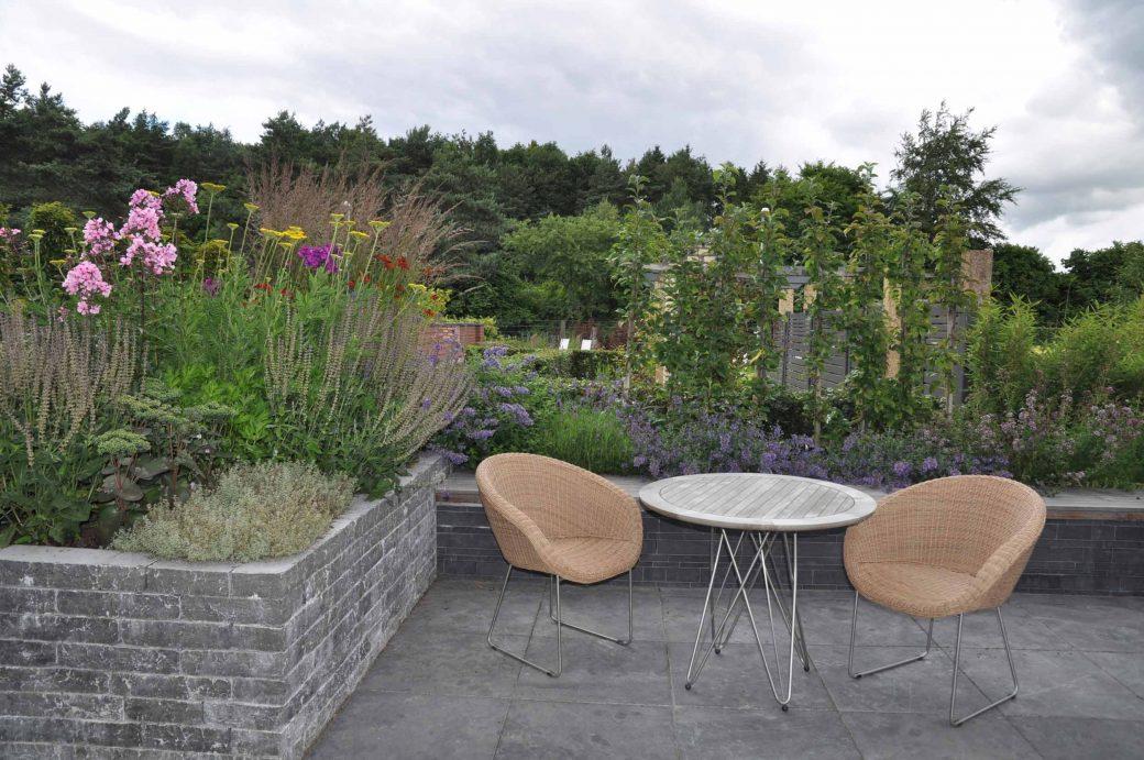Mustergarten in Sevetal mit Terrasse, zwei Stühlen und Tisch umgeben von Phellodendron amurense